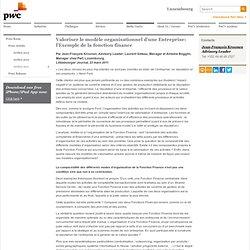 Valoriser le modèle organisationnel d'une Entreprise: l'Exemple de la fonction finance
