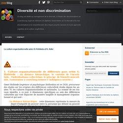 La culture organisationnelle selon G. Hofstede et N. Adler - Diversité et non discrimination