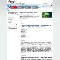 La performance organisationnelle et la complémentarité des pratiques de gestion des ressources humaines