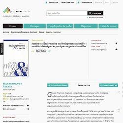 Systèmes d'information et développement durable : modèles théoriques et pratiques organisationnelles
