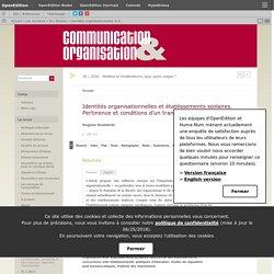 Identités organisationnelles et établissements scolaires. Pertinence et conditions d'un transfert conceptuel
