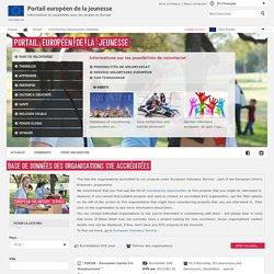 Base de données des organisations SVE accréditées