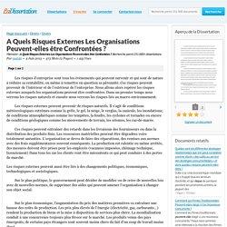 A Quels Risques Externes Les Organisations Peuvent-elles être Confrontées ? - Mémoire - mat46