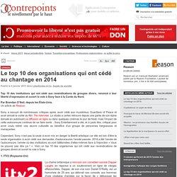 Le top 10 des organisations qui ont cédé au chantage en 2014