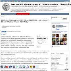 APPEL DES ORGANISATIONS DE LA DIASPORA LAO :LIBEREZ Thierry FALISE, Vincent REYNAUD,