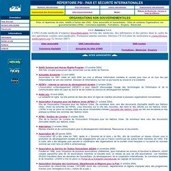 Répertoire PSI > Organisations non gouvernementales (ONG)