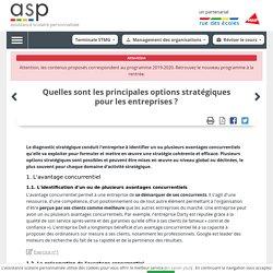 Quelles sont les principales options stratégiques pour les entreprises ? - Réviser le cours - Management des organisations - Terminale STMG - Assistance scolaire personnalisée et gratuite - ASP