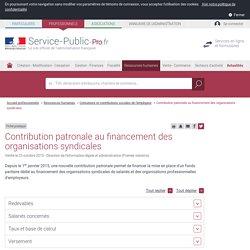 Contribution patronale au financement des organisations syndicales - professionnels