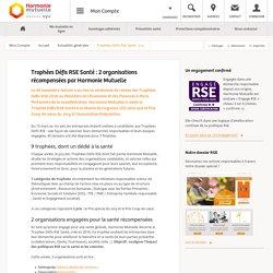 Trophées Défis RSE Santé : 2 organisations récompensées par Harmonie Mutuelle