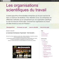 """un exemple d'entreprise """"taylorisée"""" : Mc Donald's"""