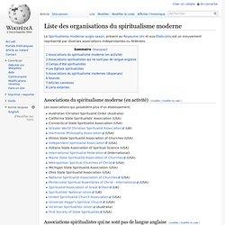 Liste des organisations du spiritualisme moderne/ Wikipedia