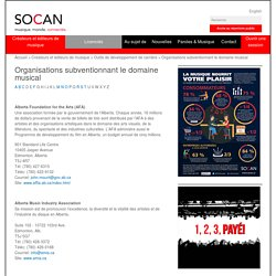 Organisations subventionnant le domaine musical