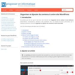Organiser et Ajouter du contenu à votre site WordPress