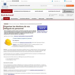 2/ Organiser ELECTION DELEGUES DU PERSONNEL