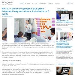 RP 2.0.: Comment organiser le plus grand évènement blogueurs dans votre industrie en 8 points - Enigma