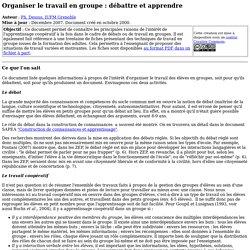 Organiser le travail en groupe - SAPEA
