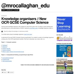 Knowledge organisers // New OCR GCSE Computer Science