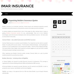 Organising Builders Insurance Quotes