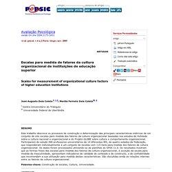 Avaliação Psicológica - Escalas para medida de fatores da cultura organizacional de instituições de educação superior