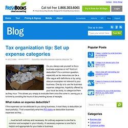 Tax organization tip: Set up expense categories