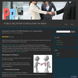 Important Function Of Public Relation In An Organization