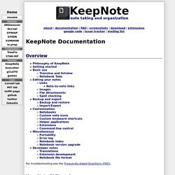 Manual for KeepNote: Note taking and organization - Documentation