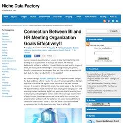 Connection Between BI and HR:Meeting Organization Goals Effectively!! - Niche Data FactoryNiche Data Factory