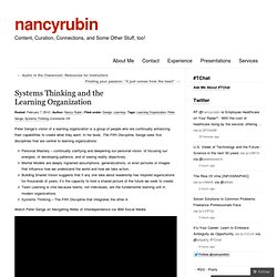 Systems Thinking and the Learning Organization