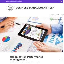 Organization Performance Management – Business Management Help