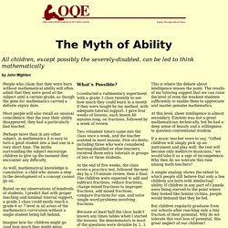 Organization for Quality Education: The Myth of Ability