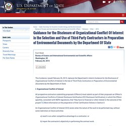 Guidance for the Disclosure of Organizational Conflict Of Interest in the Selection and Use of Third-Party Contractors in Preparation of Environmental Documents by the Department Of State