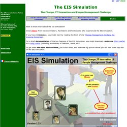 EIS Business Simulation / Organizational Change / Change Management / Elearning Multimedia / Strategy Game / Behavioral Resistance /Experiential Learning / Learning By Doing / change dynamics /Simulations Game
