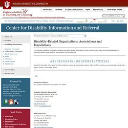 Disability-Related Organizations, Associations and Foundations