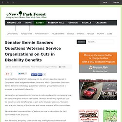 Senator Bernie Sanders Questions Veterans Service Organizations on Cuts in Disability Benefits