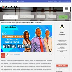 Do organizations across Africa ignore mental welfare of their Employees?