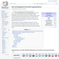 List of designated terrorist organizations