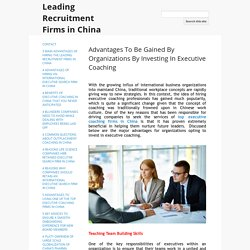 Advantages To Be Gained By Organizations By Investing In Executive Coaching