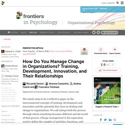 How Do You Manage Change in Organizations? Training, Development, Innovation, and Their Relationships