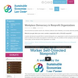 Workplace Democracy in Nonprofit Organizations - Sustainable Economies Law Center