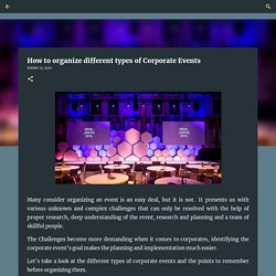 How to organize different types of Corporate Events