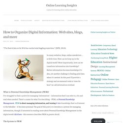 How to Organize Digital Information: Web sites, blogs, and more