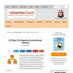 10 Ways To Organize Instructional Content
