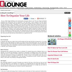 How To Organize Your Life - Organizing Your Life