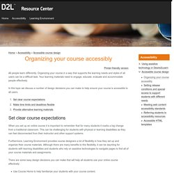Organizing your course accessibly