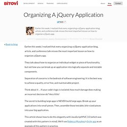 Organizing A jQuery Application - Jupiter JavaScript Consulting