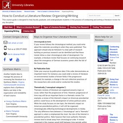 Organizing/Writing - How to Conduct a Literature Review - Research Guides at University of Alabama