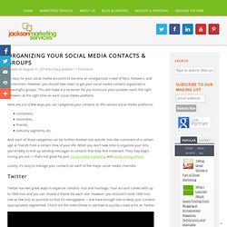 Organizing Your Social Media Contacts & Groups