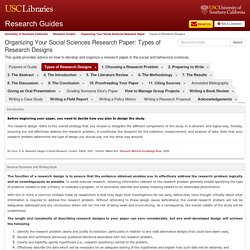 Types of Research Designs - Organizing Your Social Sciences Research Paper - Research Guides at University of Southern California