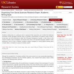 Academic Writing Style - Organizing Your Social Sciences Research Paper - Research Guides at University of Southern California