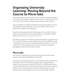 Organizing University Learning: Moving Beyond the Course to Micr